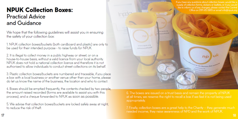 NPUK Collection Boxes, Fundraising
