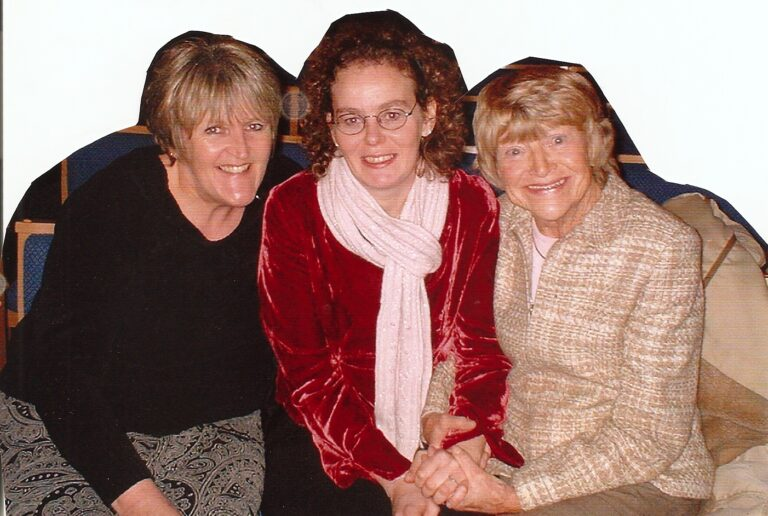 Juliet with her first carer Angie, and Dora Bryan